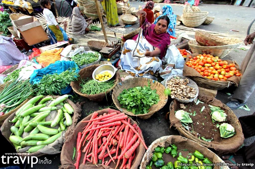 Một khu chợ địa phương ở Udaipur, Ấn Độ
