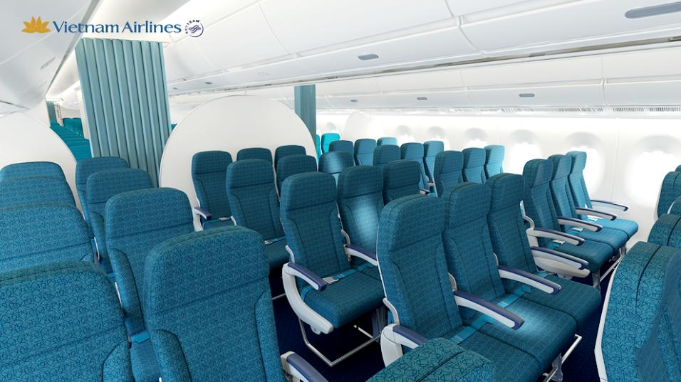 Ghế ngồi hạng phổ thông bên trong Airbus A350 XWB.