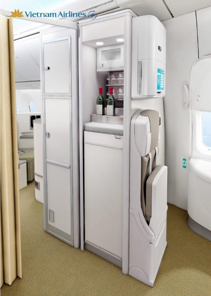 Quầy rượu trên Boeing 787-9.