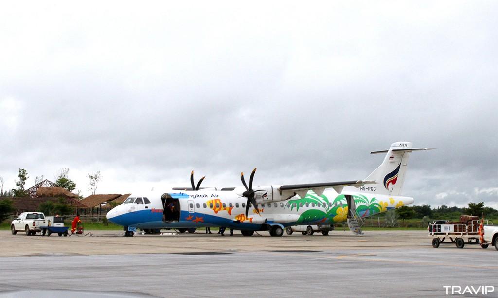 Máy bay ATR72 của Bangkok Airways tại sân bay Sukhothai, Thái Lan.