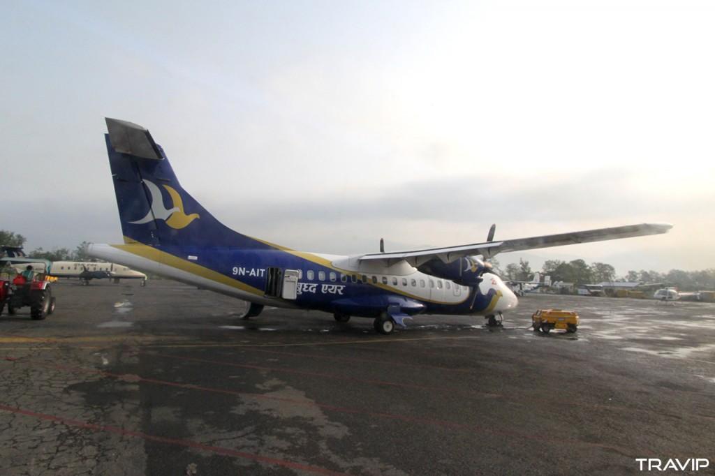 Máy bay ATR42 của hãng hàng không Nepal là Buddha Air tại sân bay quốc tế Tribhuvan, thủ đô Kathmandu, Nepal.