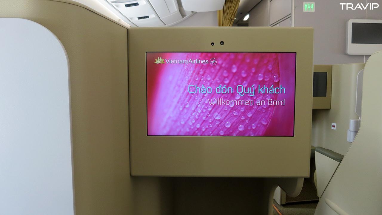 Khoang hạng thương gia trên máy bay Airbus A350 của Vietnam Airlines.